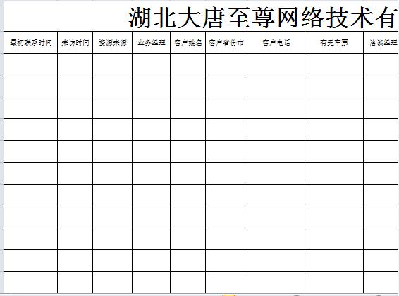 网络技术有限公司来访客户登记表(xls页)